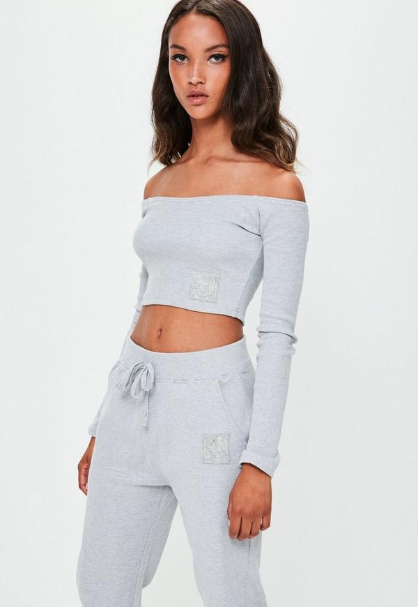 ce88fa56c8ea4b ... Missguided Grey Ribbed Bardot Top. Previous Next