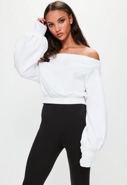 Londunn + Missguided Biały szeroki top bardot z szerokimi rękawami