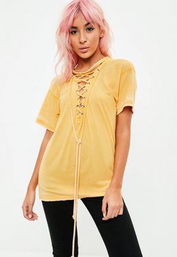 Yellow Lace Up T-Shirt