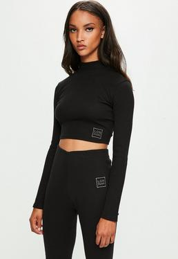 Londunn + Missguided Black Ribbed Long Sleeve Top