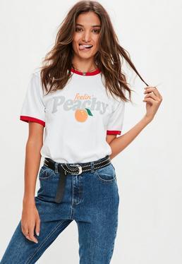 White Feelin' Peachy T-Shirt