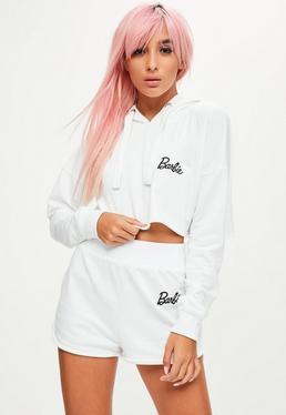 Barbie X Missguided Biała krótka bluza z długimi rękawami