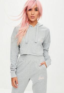 Barbie X Missguided Grey Long Sleeve Cropped Hoody