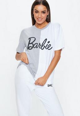 Barbie x Missguided Camiseta partida en blanco