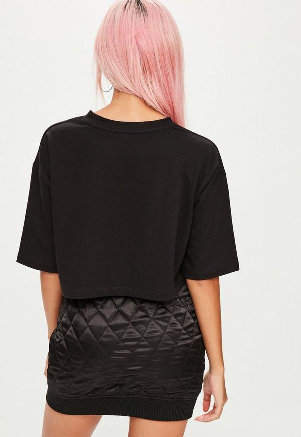Barbie x missguided black short sleeve cropped t shirt for Black barbie t shirts