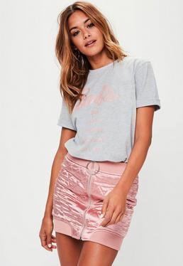 Barbie x Missguided Grey Short Sleeve 'City' T Shirt