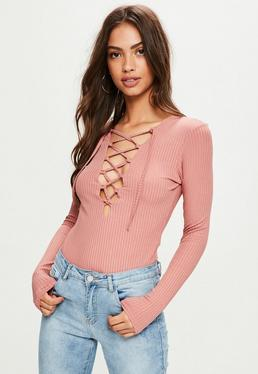 Pink Lace Up Long Sleeve Bodysuit