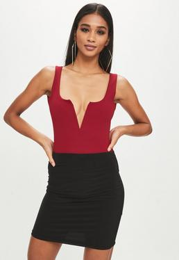 Red Notch Crepe Bodysuit