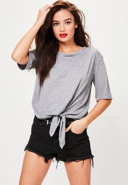 Grey Knot Hem T-Shirt