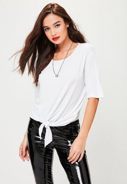 White Knot Hem T-Shirt