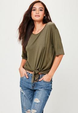Jersey T-Shirt mit Knoten in Khaki