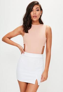 Pink Crepe Tab Side Bodysuit