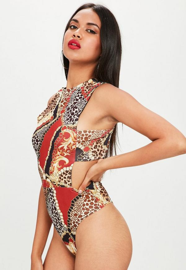 black printed tab side bodysuit missguided. Black Bedroom Furniture Sets. Home Design Ideas