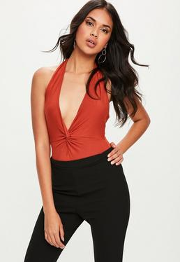 Orange Twist Front Plunge Neck Bodysuit
