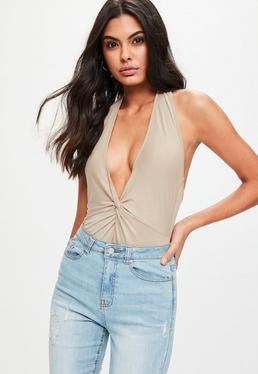 Nude Knot Front Plunge Bodysuit