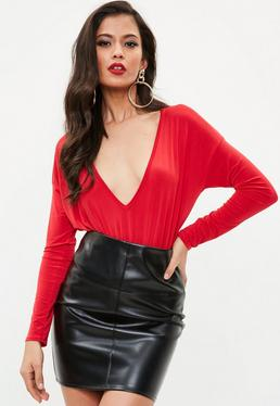 Red Batwing Plunge Bodysuit