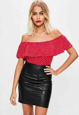 Red Frill Polka Dot Bodysuit