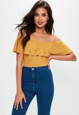 Yellow Ruffle Polka Dot Bodysuit