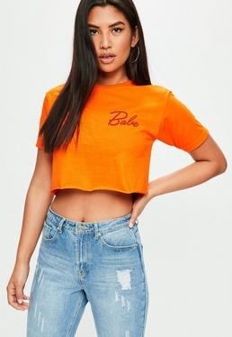Camiseta corta con babe estampado en naranja