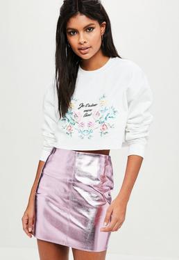 White Je Taime Puff Print Cropped Sweatshirt