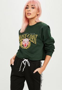 Green West Coast Cropped Sweatshirt