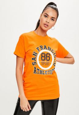Orange Printed T-shirt