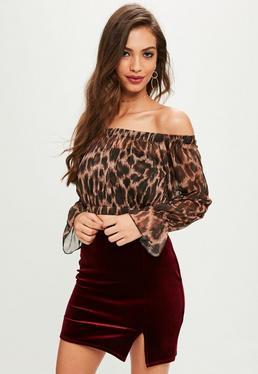 Brown Leopard Print Mesh Bardot Crop Top