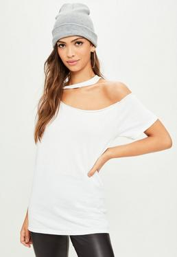 White Cut Out Neck T-Shirt