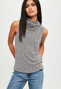 Gray Sleeveless Funnel Top