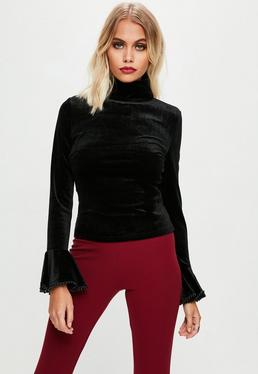 Black Velvet Turtle Neck Top