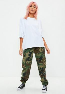 White Oversized Longline Drop Shoulder T-Shirt