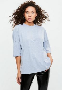 Szary owersajzowy T-shirt