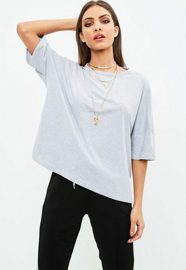 graues oversize t shirt mit r ckenausschnitt missguided. Black Bedroom Furniture Sets. Home Design Ideas