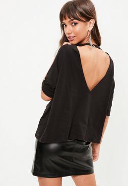 Czarna koszula z wyciętymi plecami