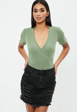 Khaki Wrap Front Short Sleeve Bodysuit