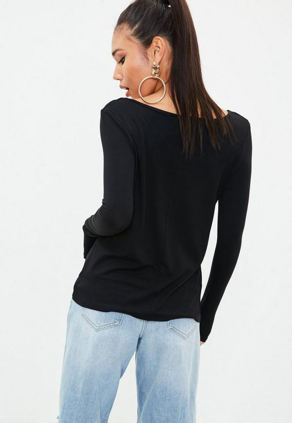 Black long sleeves loose fit t shirt missguided for Black fitted long sleeve t shirts