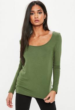 Khaki Long Sleeve Loose Fit Scoop Neck T Shirt