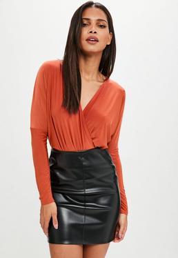 Orange Wrap Over Blouse Bodysuit
