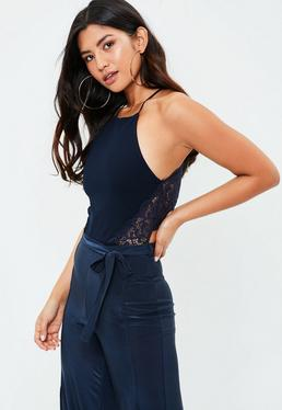 Navy Lace Insert Bodysuit