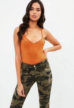 Orange Cami Strap Bodysuit