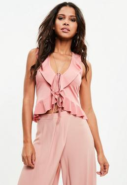 Pink Frill Tie Front Detail Top