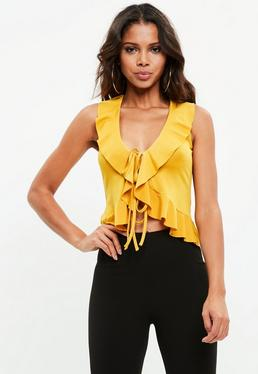 Mustard Yellow Frill Tie Front Detail Top