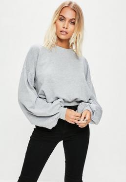 Grey Cropped Ruched Sleeve Sweatshirt