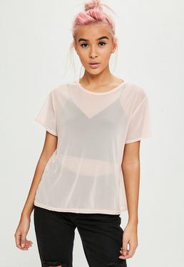 Camiseta con manga corta de transparencias en rosa