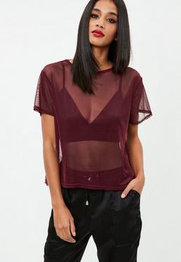 Burgundy Mesh T-shirt