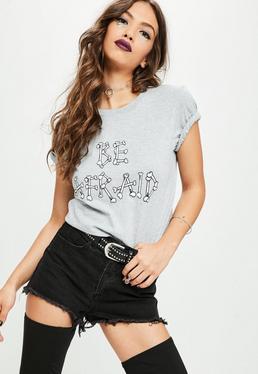 Szary luźny T-Shirt Be Afraid