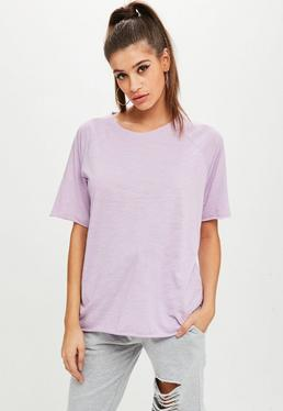 Purple Oversized Slub T-shirt