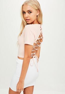 Różowy krótki top wiązany na plecach