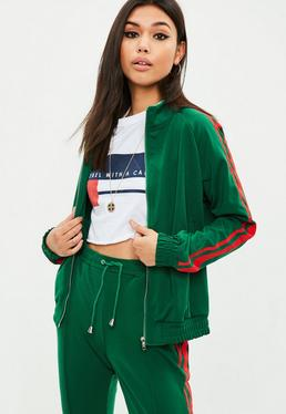 Green Striped Tracksuit Top