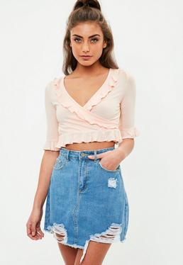 Pink Ruffle Wrap Jersey Crop Top